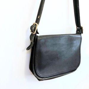 Vintage black leather Coach shoulder bag purse